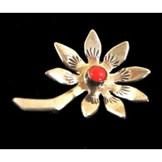 Sunflower Pin with Coral Stone