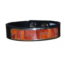 Bracelet with Inlay on Leather Band - Coral/Spiny Oyster on Black band
