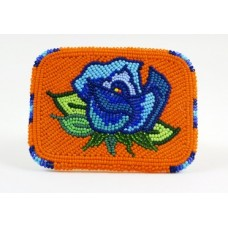 Blue Rose Beaded Belt Buckle
