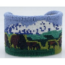 Beaded Buffalo Cuff Bracelet by Marcus Amerman