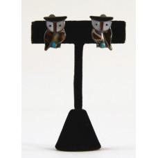 Inlaid Owl Clip Earrings